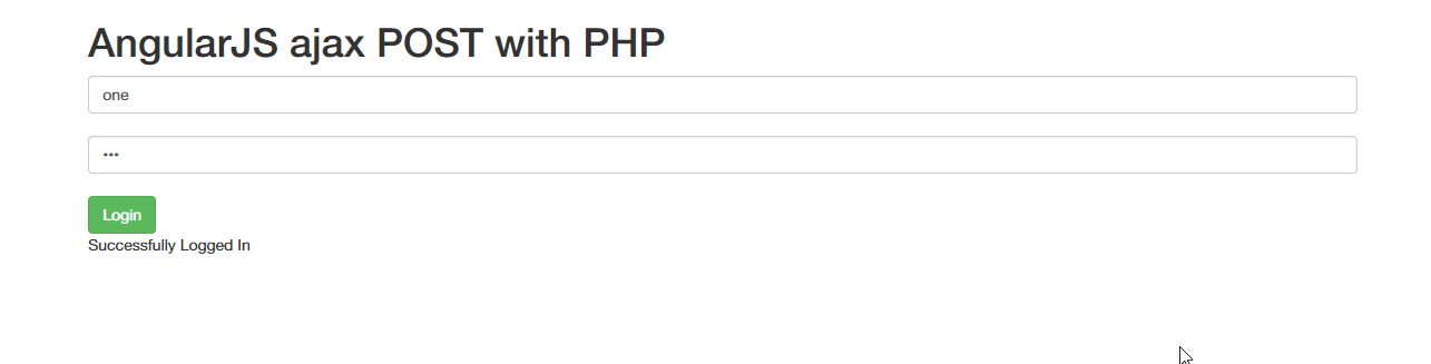 AngularJS POST request with PHP (Creating login form)