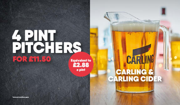 4 Pitchers £11.50