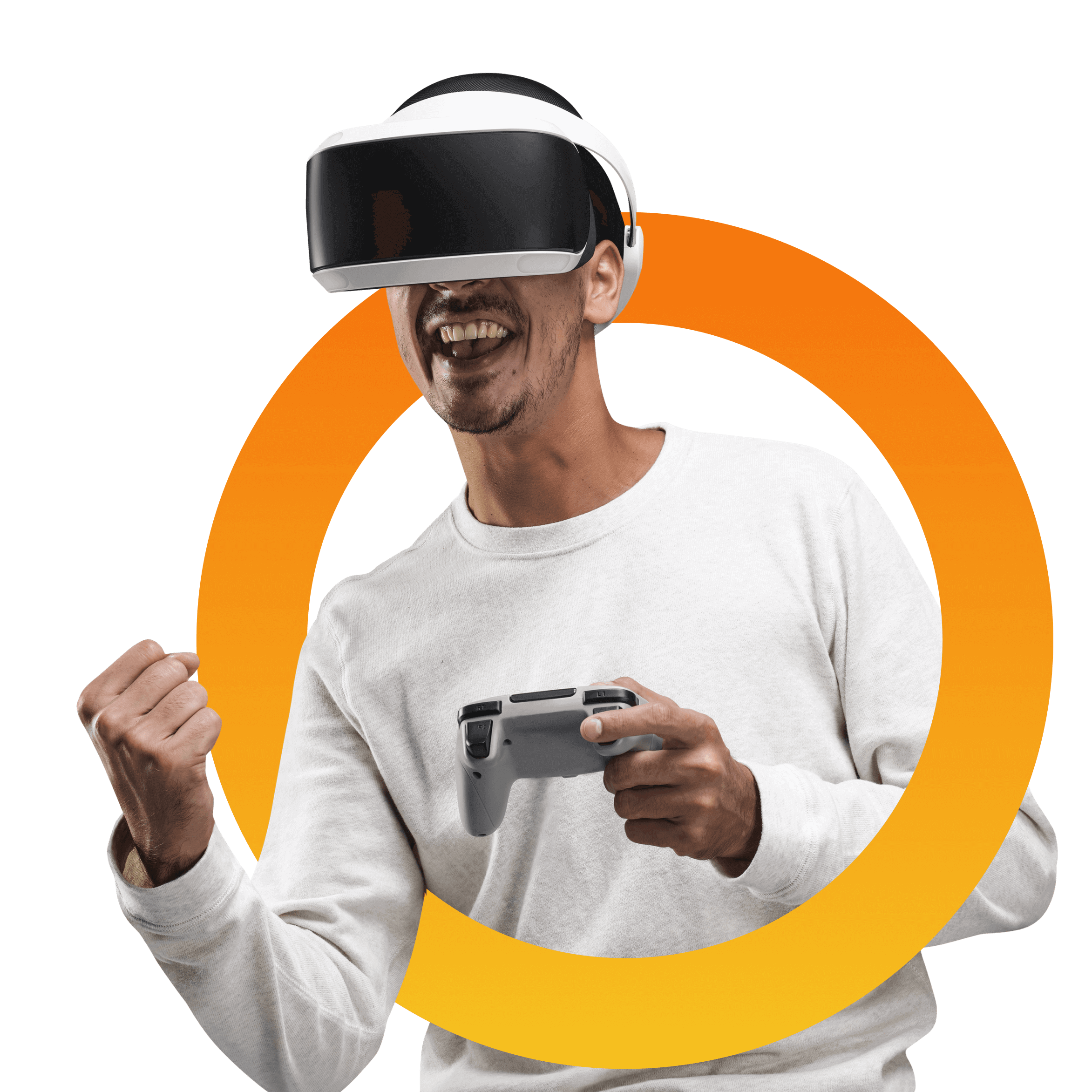 a man playing a virtual relaity game