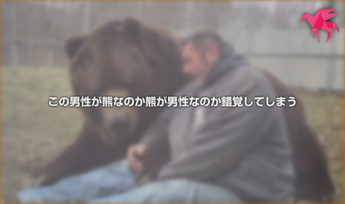 この男性が熊なのか熊が男性なのか錯覚してしまう