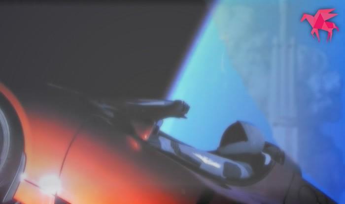 【おバカ行為】スペースXが車を人工衛星に着けて打ち上げた。