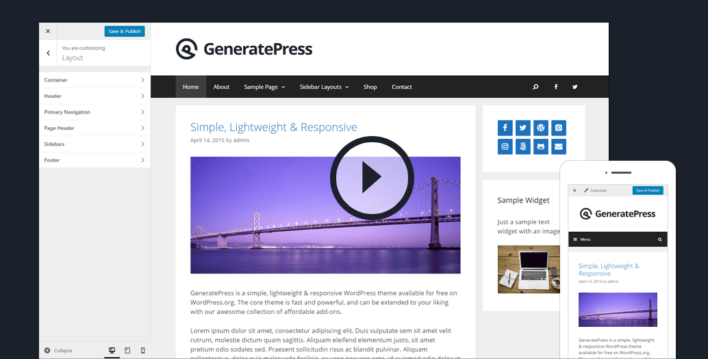 GeneratePress Lightweight Responsive WordPress Theme