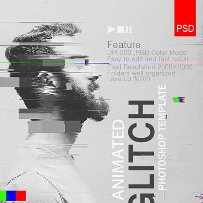 Gifアニメーショングリッチ - Photoshopテンプレート
