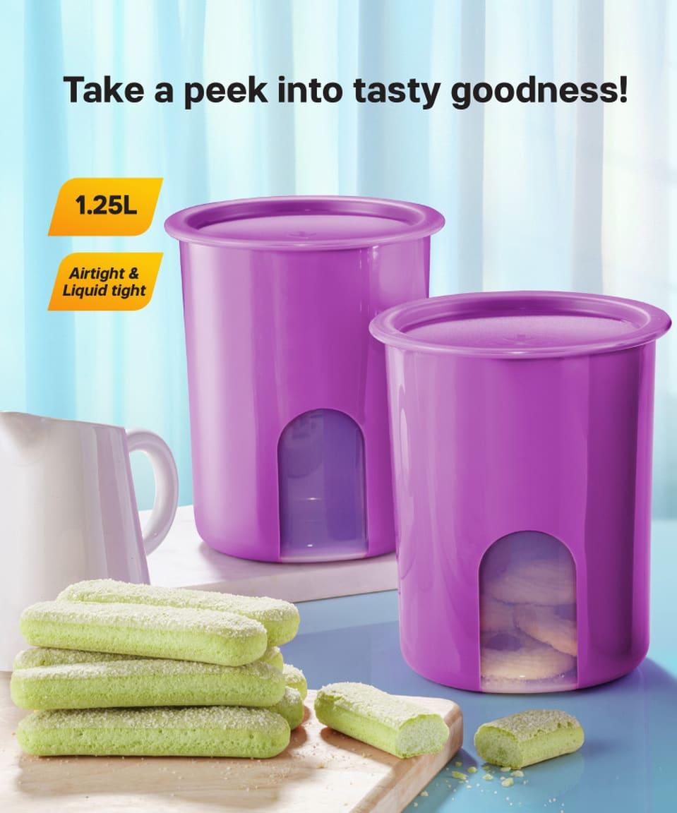 One Touch Window Canister Set (4) 1.25L