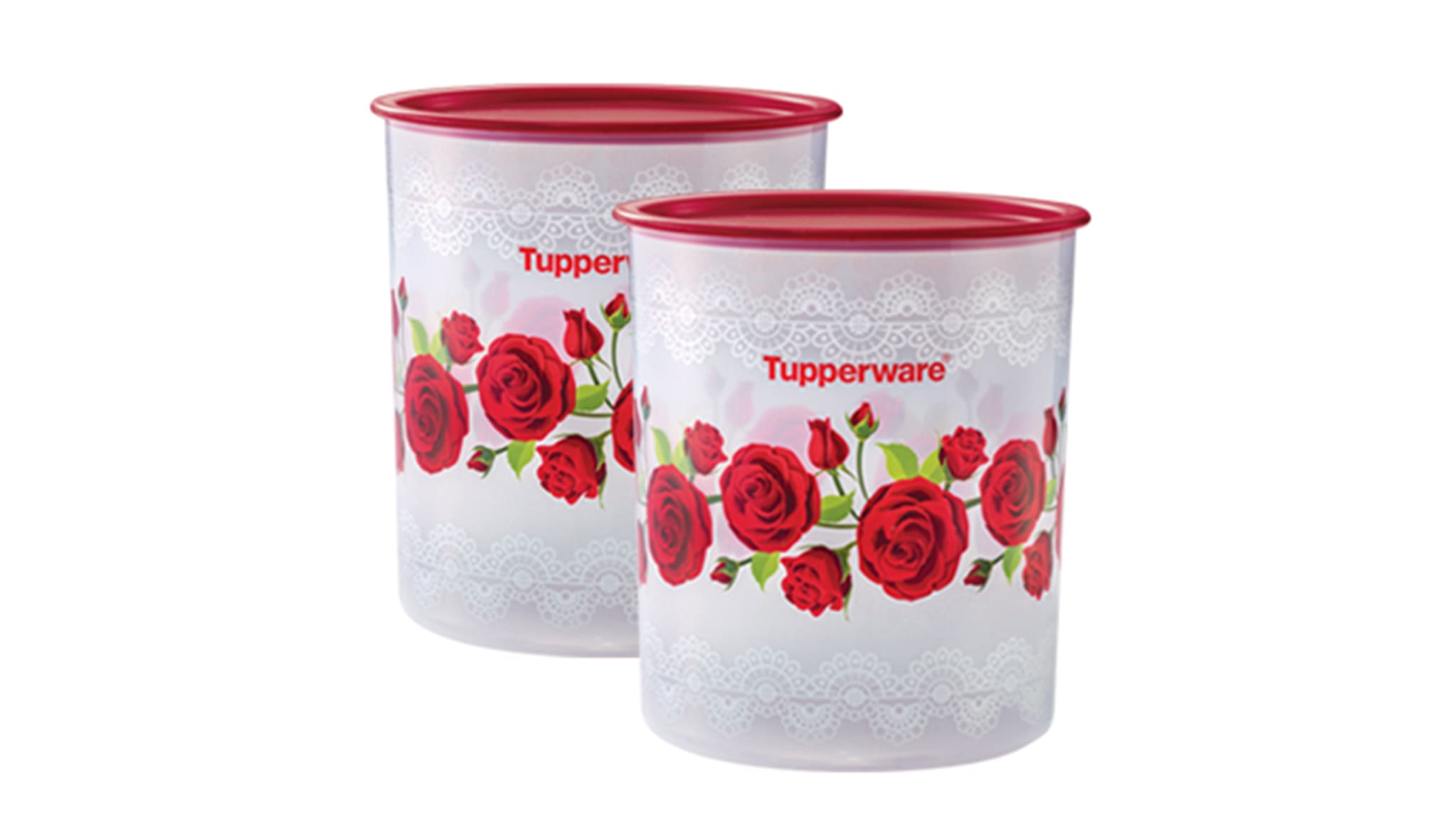 Royal Red Rose One Touch Canister Large (2) 4.3L