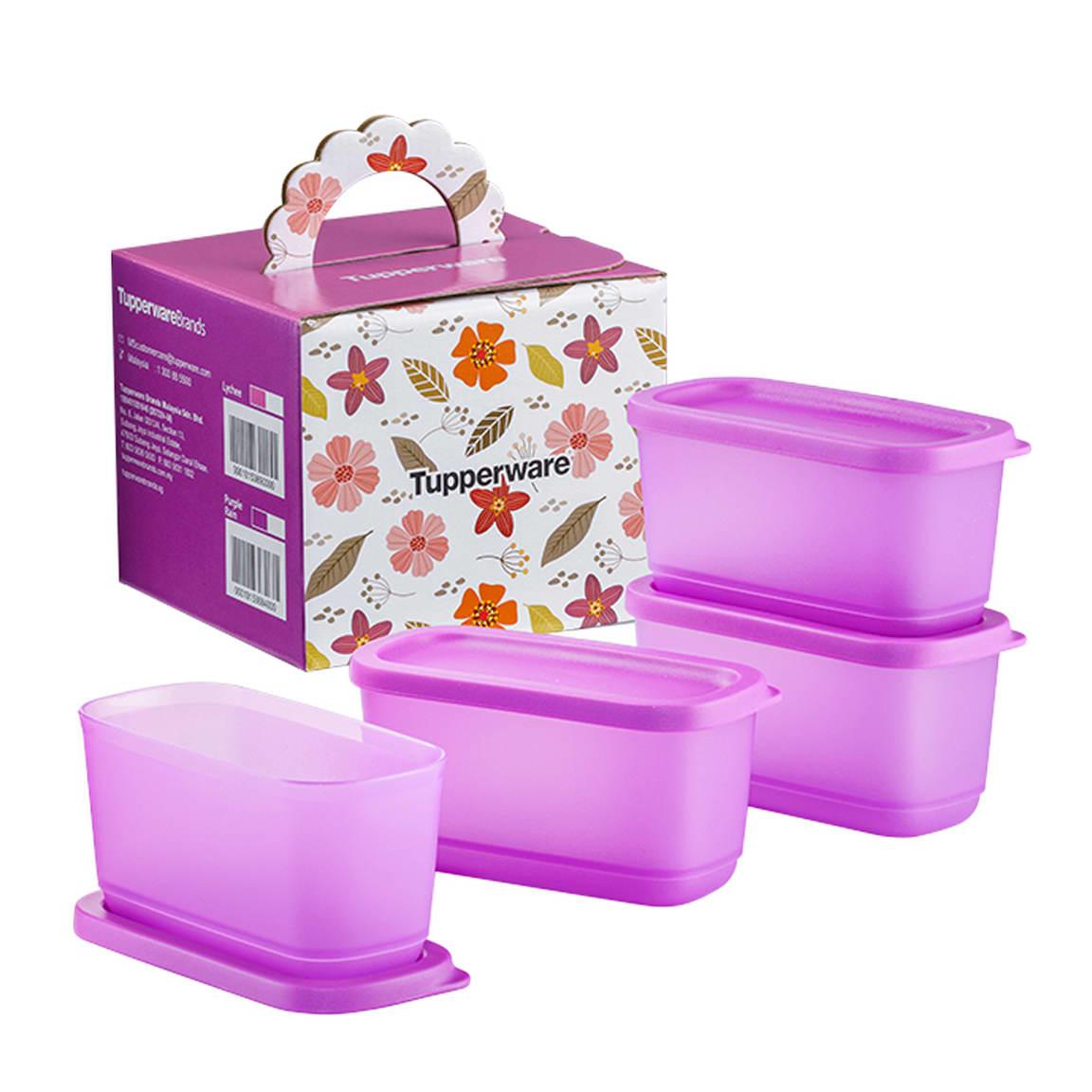 Sweet Trinkets Half Square Round (4) 250ml - Purple