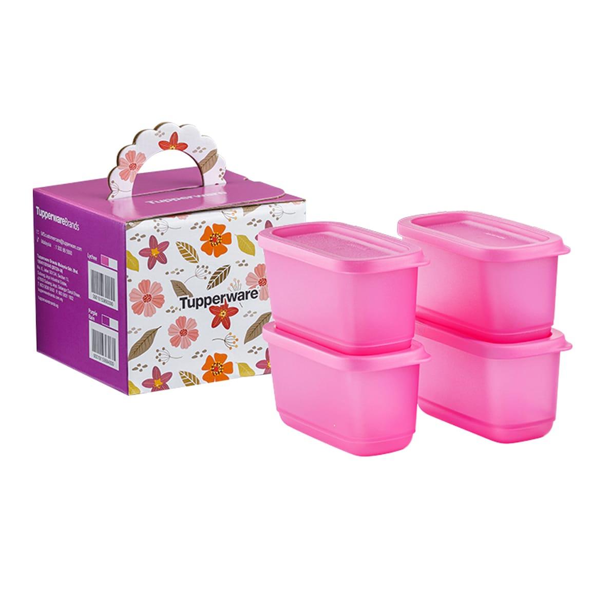 Sweet Trinkets Half Square Round (4) 250ml - Pink