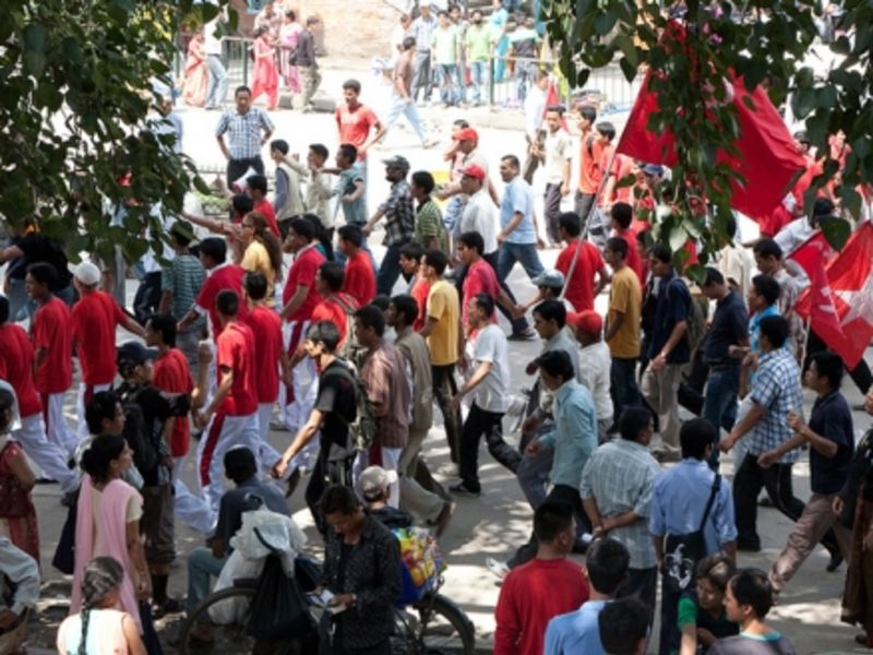 A protest rally against the government by Maoists from Nepal's YCL party in 2009. (Photo: Ingmar Zahorsky, Flickr)