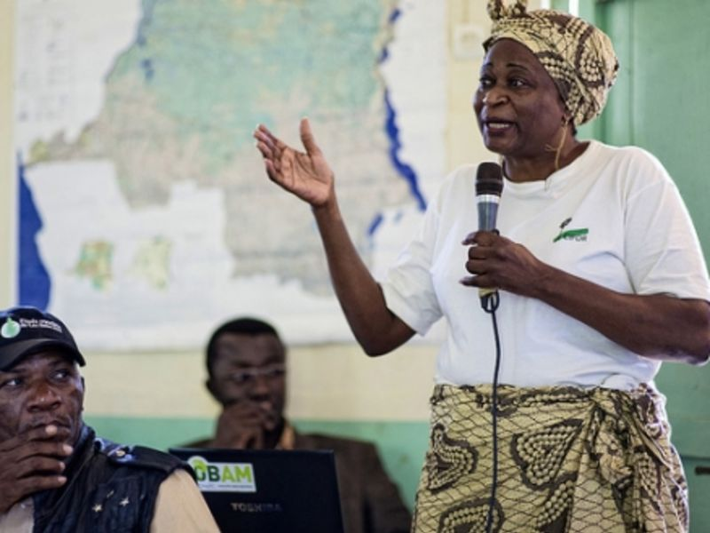 Anne Marie Tiani, a senior scientist for Center for International Forestry (CIFOR) and the coordinator for project COBAM, conducts a workshop in the DRC. (Ollivier Girard / CIFOR.)