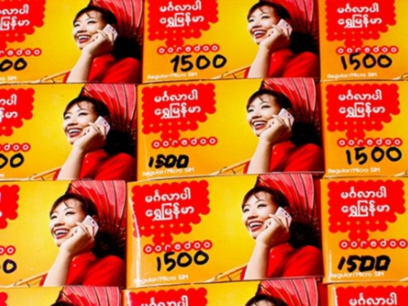 Ooredoo SIM cards for sale in Yangon (Remko Tanis, Flickr)