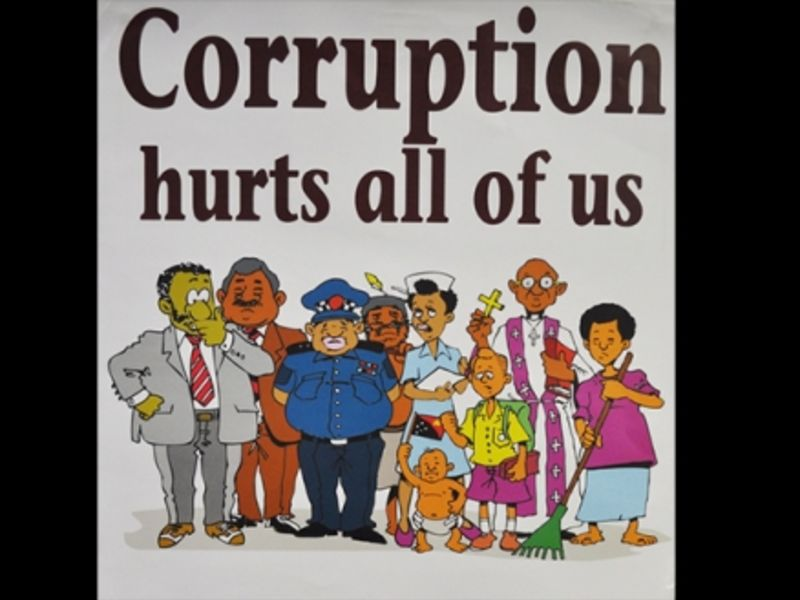 Part of an anticorruption poster in PNG (Raymond June)