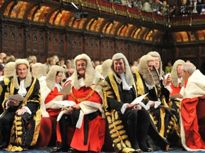 Judges in the Lords chamber, UK Parliament (Parliamentary copyright/Catherine Bebbington).