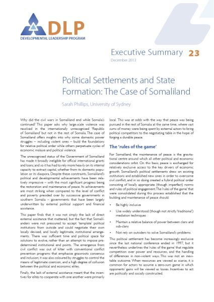 Executive Summary - Political Settlements and State Formation: The Case of Somaliland