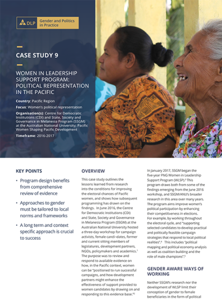 Case Study - Women in Leadership Support Program: Political representation in the Pacific