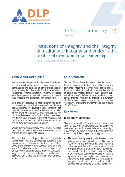 Executive Summary - Integrity and Ethics in the politics of Developmental Leadership