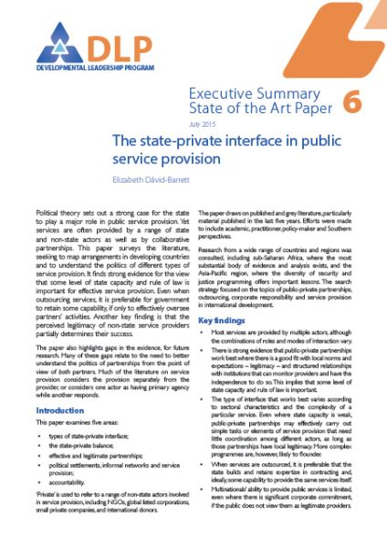 Executive Summary - The State-Private Interface in Public Service Provision
