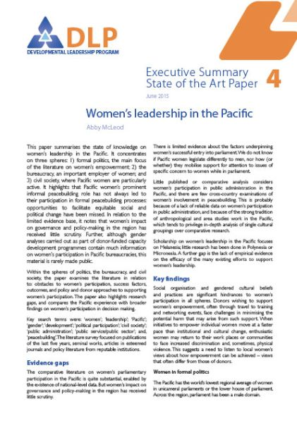 Executive Summary - Women's Leadership in the Pacific