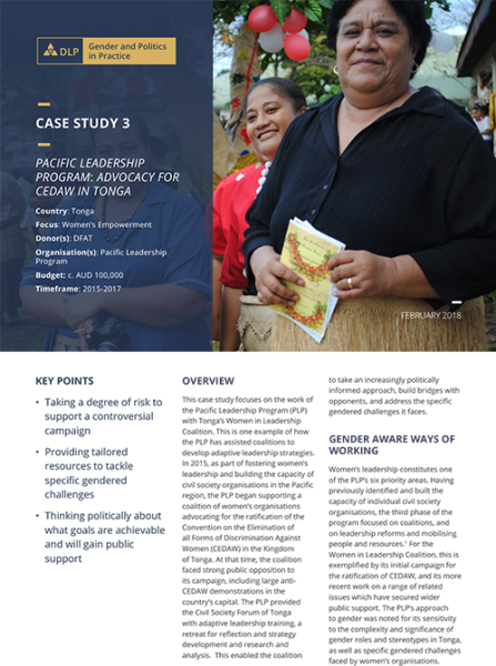 Case Study - Pacific Leadership Program: Advocacy for CEDAW in Tonga
