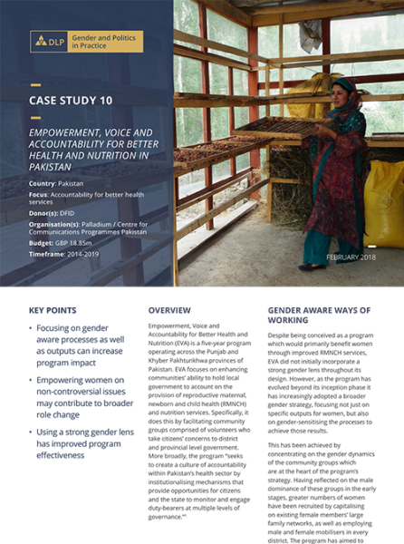 Case Study - Empowerment, Voice and Accountability for Better Health and Nutrition in Pakistan