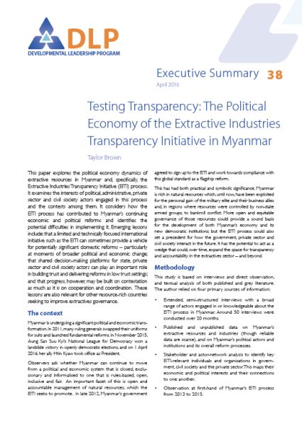 Executive Summary - Testing Transparency: The Political Economy of the Extractive Industries Transparency Initiative in Myanmar