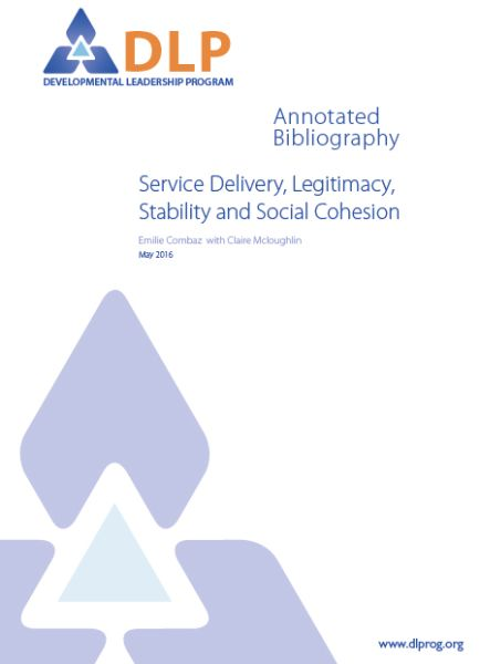 Service Delivery, Legitimacy, Stability and Social Cohesion: Annotated Bibliography