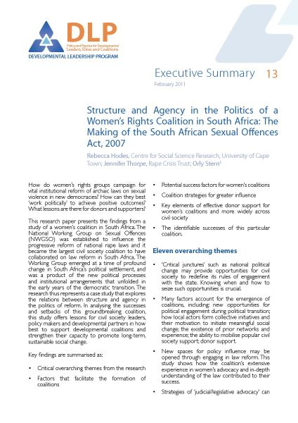Executive Summary - Structure and Agency in a Womens Rights Coalition in South Africa
