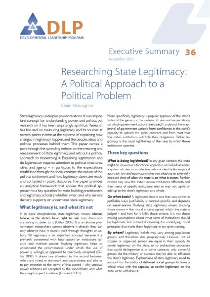 Executive Summary - Researching State Legitimacy: A Political Approach to a Political Problem