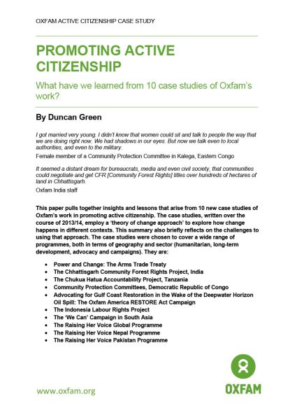 Active Citizenship: 10 case studies and synthesis paper