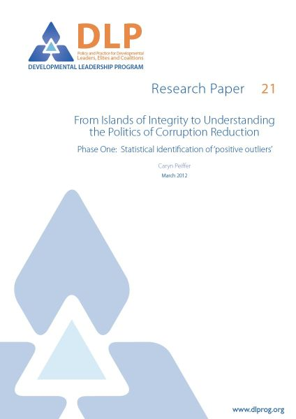 From Islands of Integrity to Understanding the Politics of Corruption Reduction: Phase One: Statistical Identification of Positive Outliers