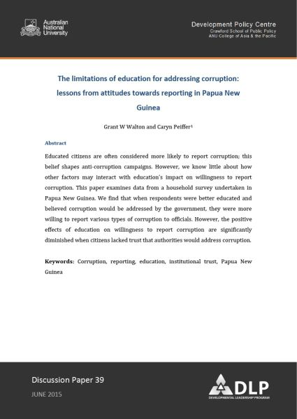 The limitations of education for addressing corruption: lessons from attitudes towards reporting in Papua New Guinea