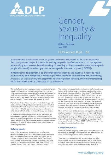 Gender, Sexuality and Inequality