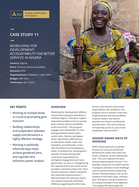 Case Study - Mobilising for Development: Accountability for better services in Nigeria
