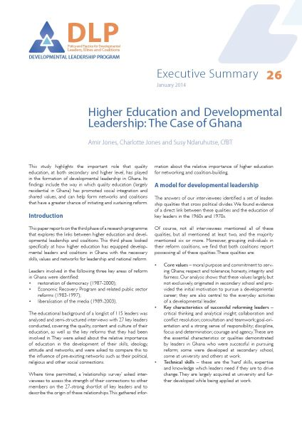 Executive Summary - Higher Education and Developmental Leadership in Ghana