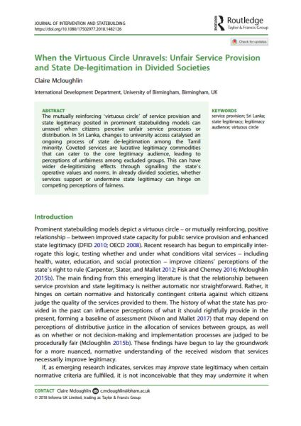 When the Virtuous Circle Unravels: Unfair Service Provision and State De-legitimation in Divided Societies