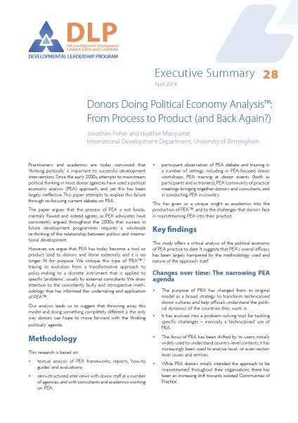 Executive Summary - Donors Doing Political Economy Analysis: From Process to Product (and Back Again?)