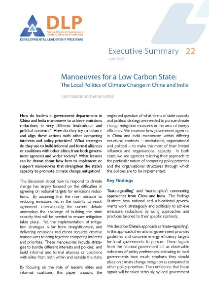 Executive Summary - Manoeuvres for a Low Carbon State