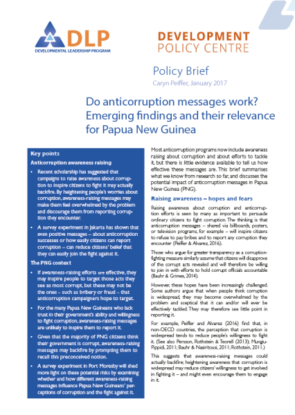 Do anticorruption messages work? Emerging findings and their relevance for Papua New Guinea