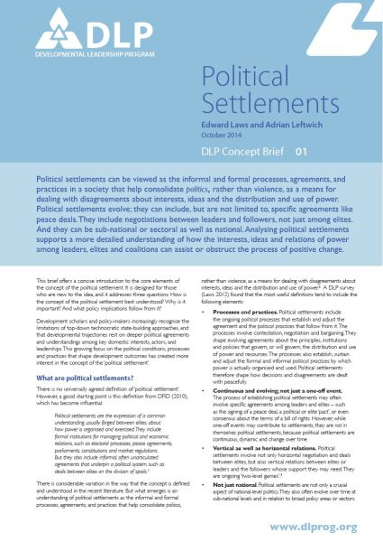 Political Settlements