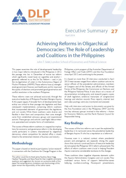 Executive Summary - Achieving Reforms in Oligarchical Democracies