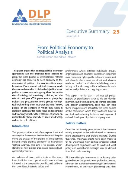 Executive Summary - From Political Economy to Political Analysis