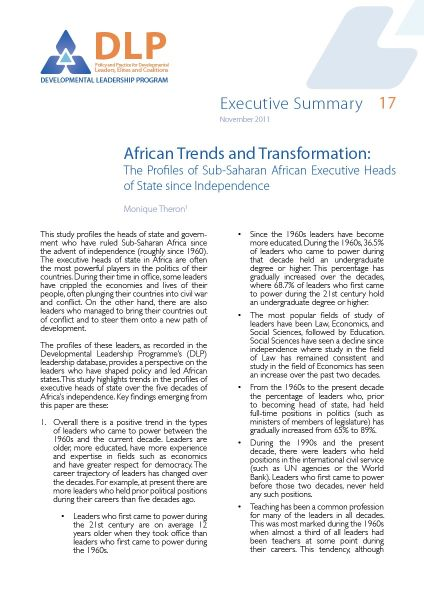 Executive Summary - African Trends and Transformation