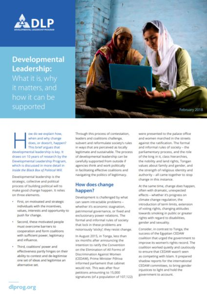 Developmental Leadership: What it is, why it matters, and how it can be supported