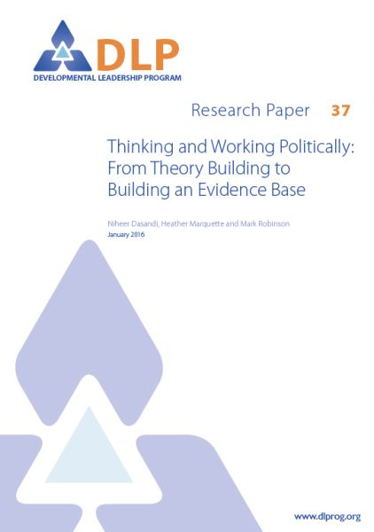 Thinking and Working Politically: From Theory Building to Building an Evidence Base