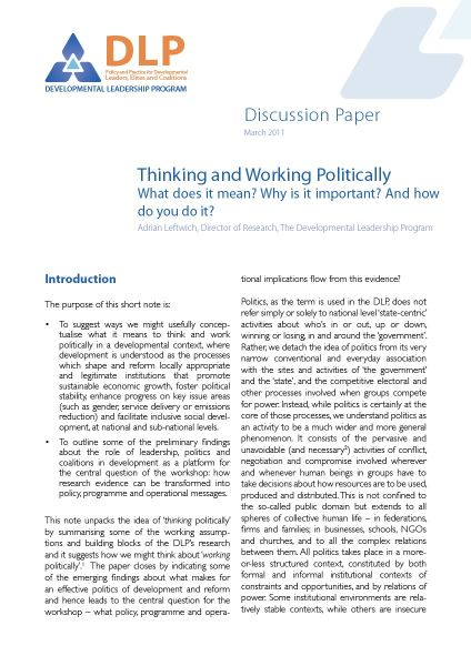 Working Politically (DLP Research and Policy Workshop, Frankfurt)