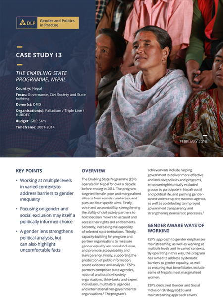 Case Study - The Enabling State Programme, Nepal