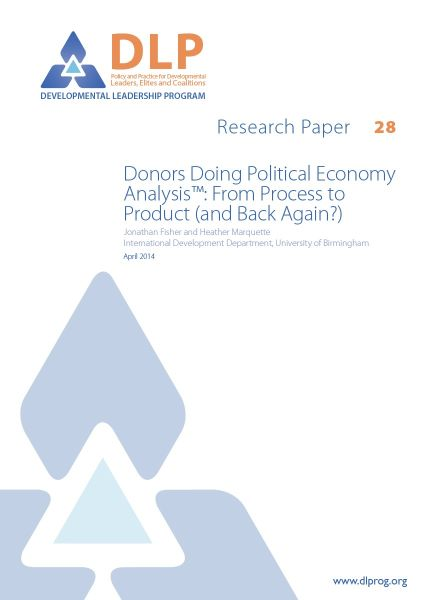 Donors Doing Political Economy Analysis: From Process to Product (and Back Again?)