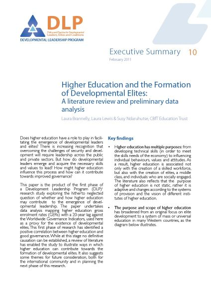 Executive Summary - Higher Education and the Formation of Developmental Elites