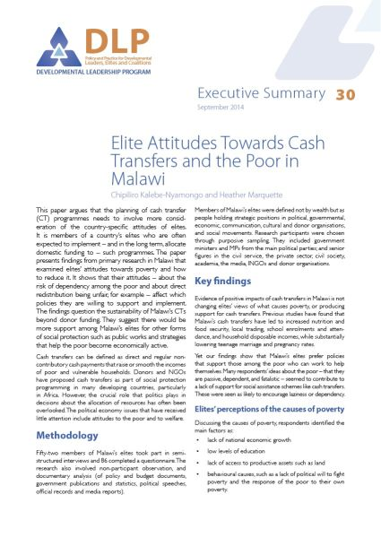 Executive Summary - Elite Attitudes Towards Cash Transfers and the Poor in Malawi