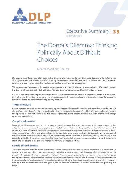 Executive Summary - The Donor's Dilemma: Thinking Politically About Difficult Choices
