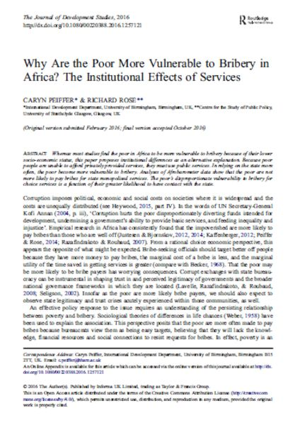 Why Are the Poor More Vulnerable to Bribery in Africa? The Institutional Effects of Services